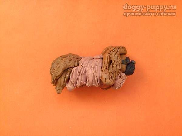 собака из пластилина пекинес