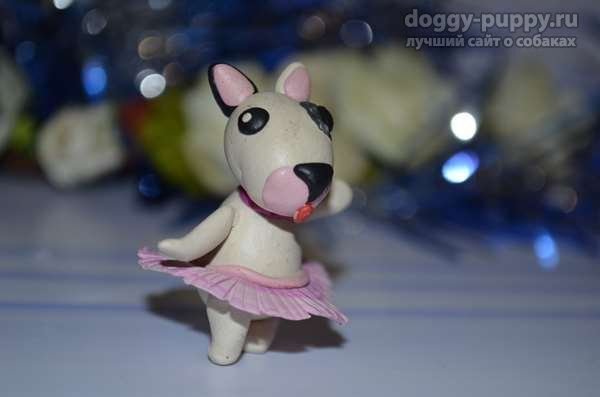 Собачка-балерина из пластилина