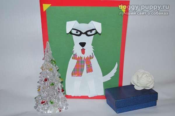 открытка Стильная собачка